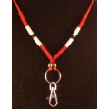 Red/Black/White Beaded Lanyard