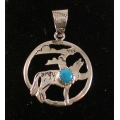 Silver and Turquoise Wolf Pendant