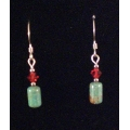 Red Swarovski Crystal and Turquoise Earrings